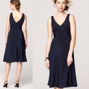 J.Crew Black Sofia Silk Chiffon Knee Length Dress